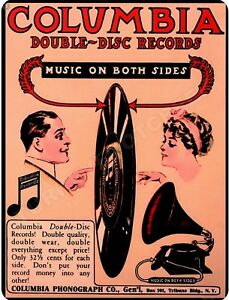 """COLUMBIA DOUBLE DISC RECORDS  9/"""" x 12/"""" Sign"""