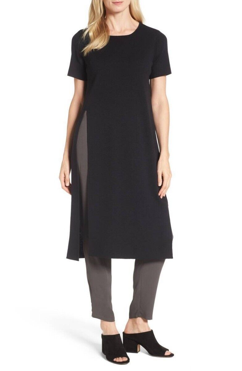 Eileen Fisher schwarz Washable Wool Crepe Round Neck Long Tunic S NWT