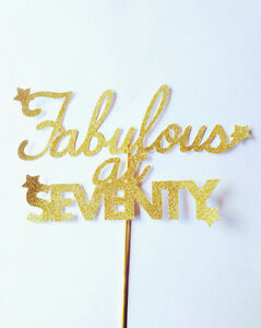 fabulous at seventy 70 gold glitter birthday large cake toppers eBay