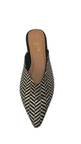 Ex River Island Black Wide Fit Pointed Flat Mules Size 3-8