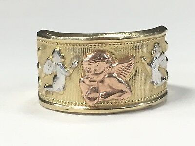 Fast Deliver Beautiful 10k Tri Color Gold Angel Ring For Ladys Great Gift Idea * Fine Jewelry