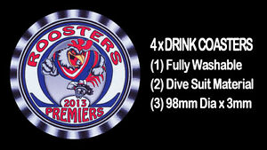 4-x-ROOSTERS-2013-PREMIERS-FOOTBALL-RUGBY-LEAGUE-DRINK-COASTERS-Fully-Washable