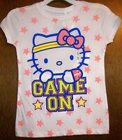Girls Shirt Sz Xl Hello Kitty White W/hello Kitty Sparkly Game On