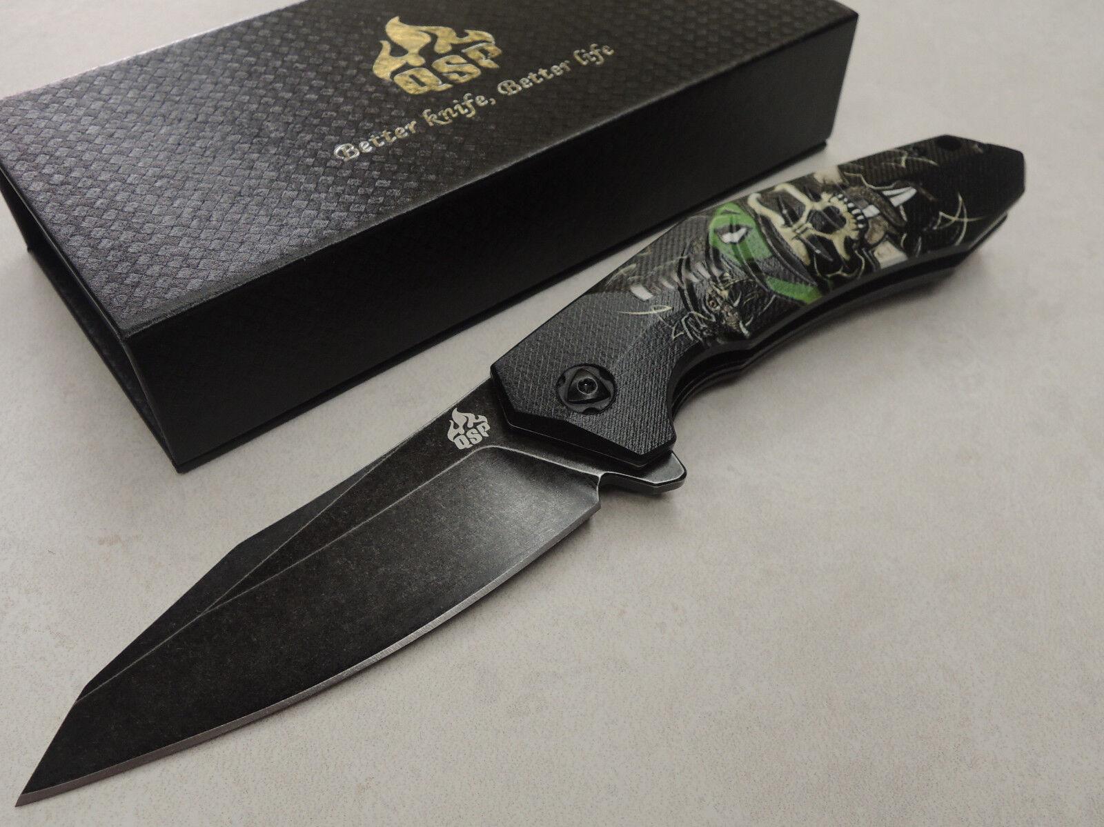 QSP Knives   Ghost   Taschenmesser 440C Stahl Kugellager G10 Griff QS104B