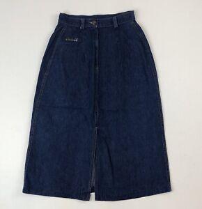 Vtg-70s-Charlie-M-Long-Denim-Jean-Skirt-Center-Front-Back-Slit-See-Measurements