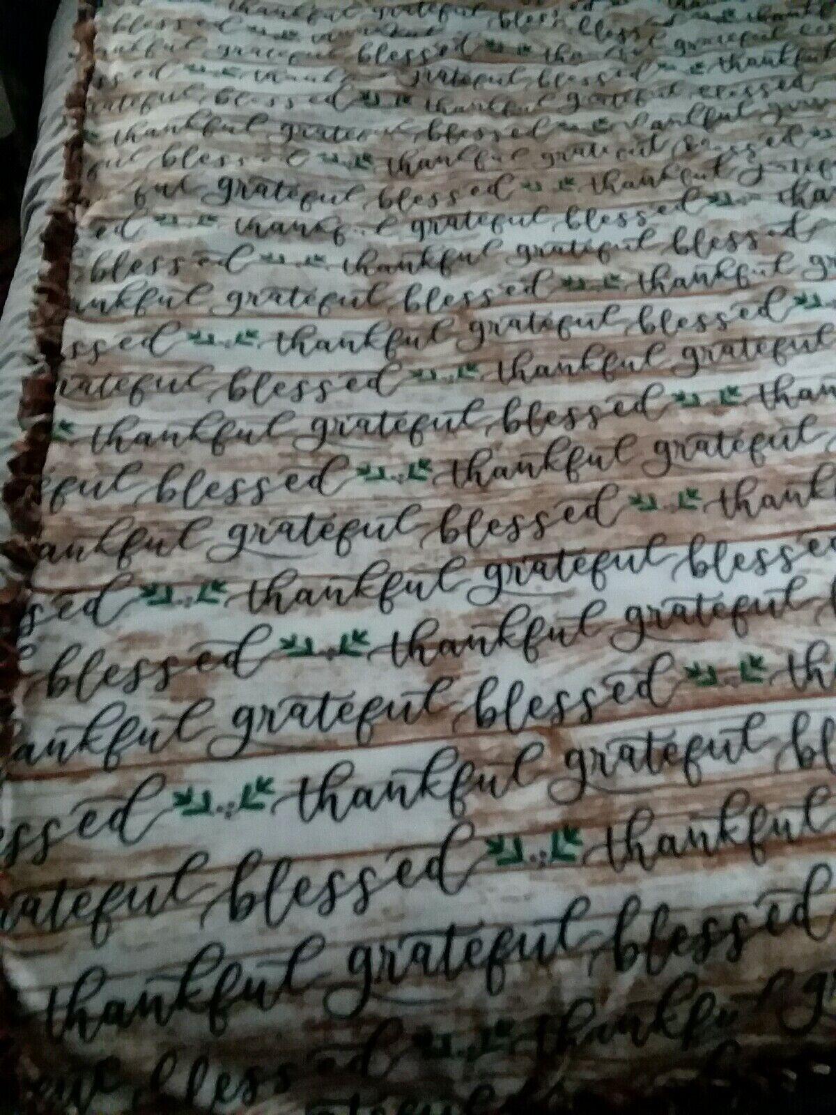 Fleece Handmade Tie Blanket LARGE 60 X94  Lodge Blessed Thankful Wood Log