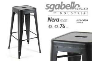 Sgabelli Tolix Usati.Sgabello Metallico Serie Industrial Nero Matt 43 43 76 Cm