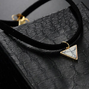 Vintage-Triangle-Marble-Pendant-Black-Velvet-Choker-Statement-Necklace