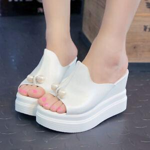 Women High Heel Open Toe Slippers Wedge Platform Sandals Casual Slip ...