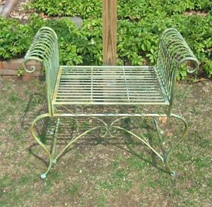 Garden-Bench-Plant-Stand-Wrought-Iron-Antique-Mint-Green-Finish