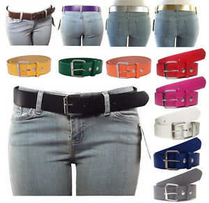 NEW-Women-039-s-Thick-Wide-Bonded-Leather-Belt-w-Removable-Silver-Buckle-13-Colors