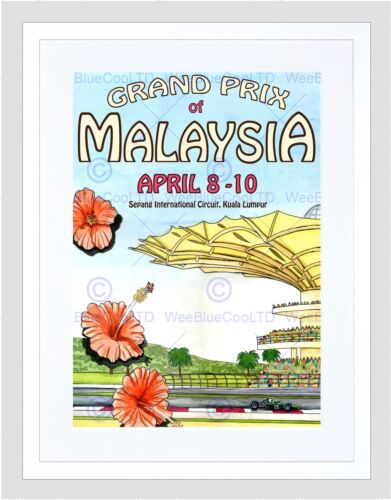 SPORT ADVERT MOTOR RACING GRAND PRIX SEPANG MALAYSIA FRAMED ART PRINT B12X3900