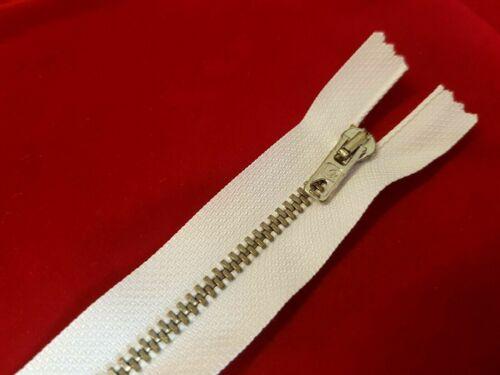 Fermeture éclair métal 15 cm de long 99-21 5 mm-Non sécables-blanc-Neuf