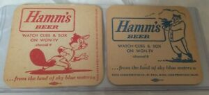 Vintage-Set-of-2-Hamms-beer-WGN-TV-Chicago-Cubs-Sox-Coasters-1960s-2-sided