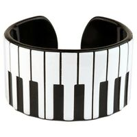 Official Funky Retro Piano Keys Cuff Bangle - Music Kitsch Bracelet Black White