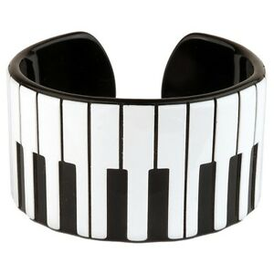 Official-Funky-Retro-Piano-Keys-Cuff-Bangle-Music-Kitsch-Bracelet-Black-White