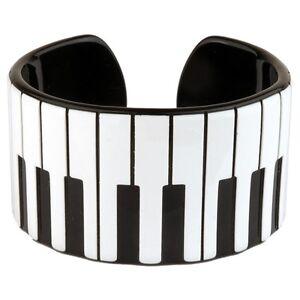 Official-Funky-Retro-Piano-Keys-Cuff-Bangle-Music-Kitsch-Bracelet-Black-White