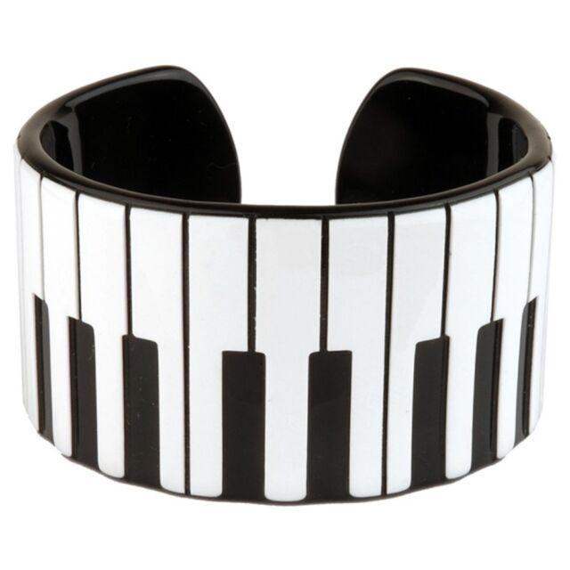 Offiziell Funky Retro Pianotasten Armspange - Musik Kitsch Armband Schwarz Weiß