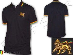 Rasta Cotton Polo Shirt Jamaica Peace & Love Lion Of Judah ...