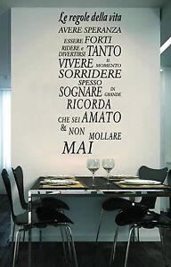 Wall Stickers Adesivi Murali Frase Le Regole Della Vita Parete