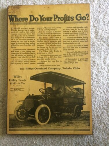 1914 ADVERTISEMENT FOR THE WILYS UTILITY TRUCK LAMINATED ON PLYWOOD