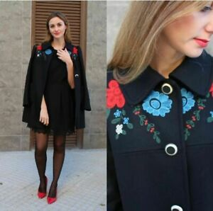 ZARA-WOMAN-NAVY-COAT-EMBROIDERED-PATCHES-FLORAL-COAT-SIZE-SMALL-S