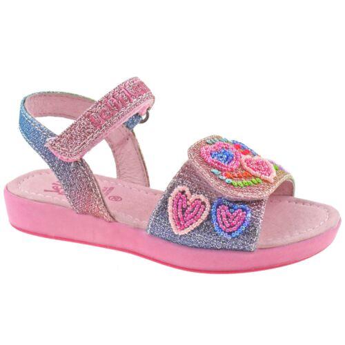 Lelli Kelly LK5410 GX02 Rainbow Hearts Multi Glitter Adjustable Sandals