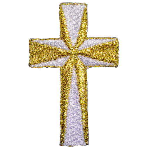 Baby Toddler Infant Christening Baptism White Bib Gold Silver Embroidered Cross