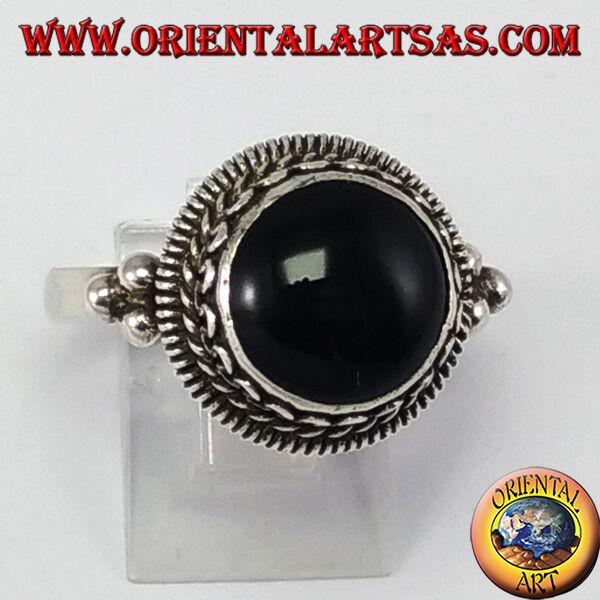 Ring silver an bord hoch mit onyx rund