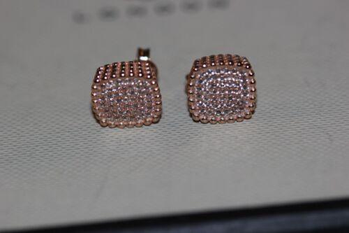 Genuine enlaces de Londres 18K oro Rosa Vermeil Pure Cuadrado Pendientes De Topacio Blanco