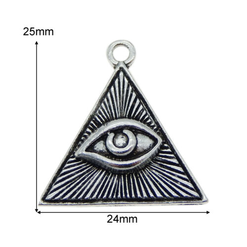 20Stück Vintage Silber Metall Dreieck böser Blick Schmuck Anhänger Charm Zubehör