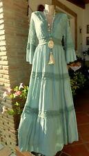 Italy Träumchen Maxi Kleid Mint IBIZA Boho Spitze Häkel Viskose BEINN EG 36-40