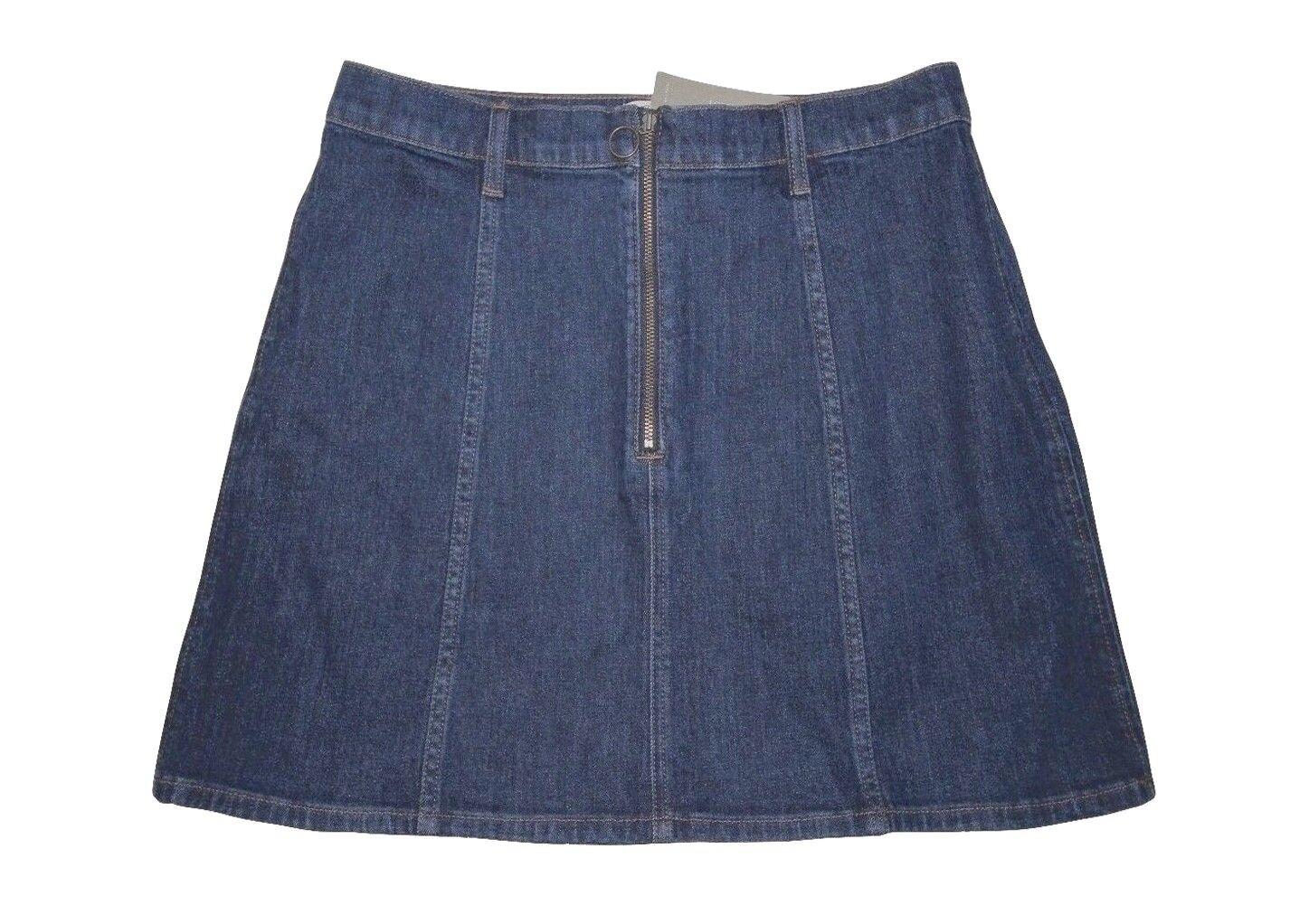 J Crew - Women's 14 (L) - NWT - bluee Denim Front Zip Mini A-Line Jean Skirt