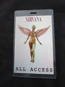 Details about NIRVANA CONCERT PASS IN UTERO TOUR COA RARE! ALL ACCESS  LAMINATE BACKSTAGE PASS