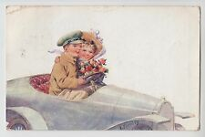 POSTCARD - artist signed Feiertag, motoring theme, girl & boy in open top car