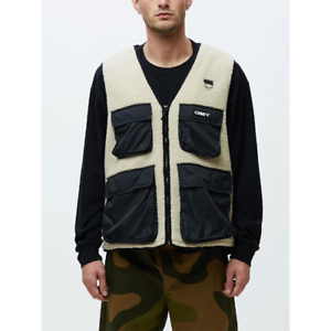 RRP-100-00-Obey-Men-039-s-Mountaineer-Vest-Natural-Multi-White-Black-Size-M