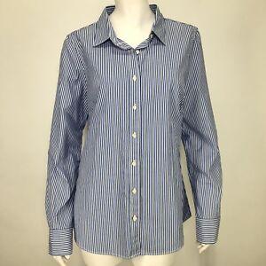 J. Crew Womens Medium Shirt Classic Button Down Striped Blue White ... e11a1bc613