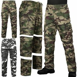 MENS-3-IN-1-CAMOUFLAGE-TROUSERS-ZIP-OFF-SHORTS-COMBAT-CARGO-ARMY-WORK-PANT-S-2XL
