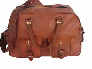 women s Vintage Brown Genuine Leather Luggage Duffle Gym Overnight ... f3b08e8305