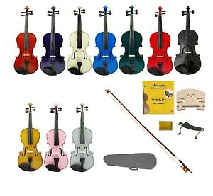 New Acoustic Student Violin,Case,Bow+Rosin,2Sets Strings,2 Bridges,Shoulder Rest