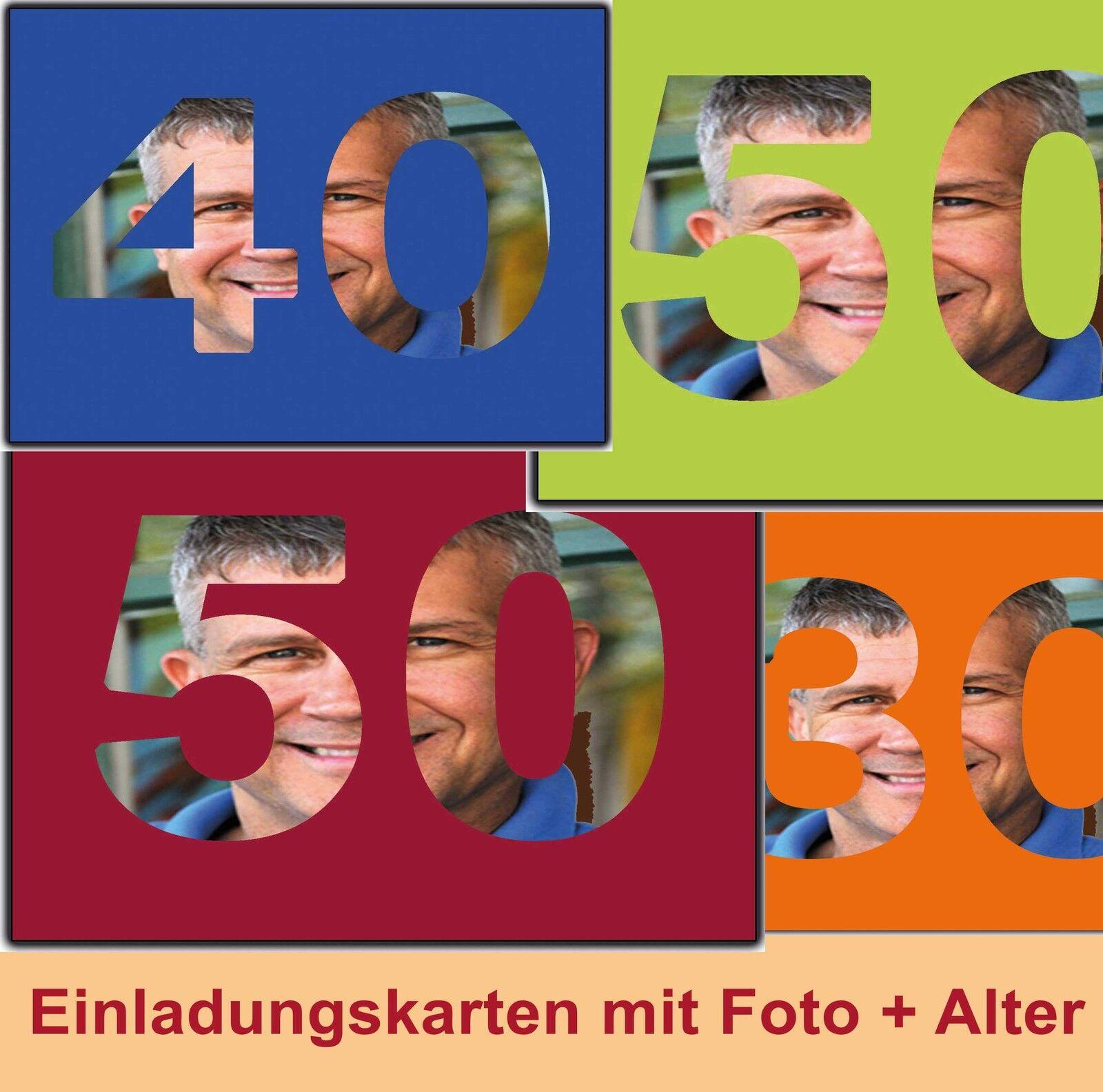 Einladungskarten zum Geburtstag  Ihrem Alter mit Foto 18 30 40 50 60 Einladung | Neues Produkt  | Niedriger Preis und gute Qualität