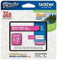 Brother P-touch 1/2 (0.47) White On Berry Pink Standard Laminated Tape - 16.4