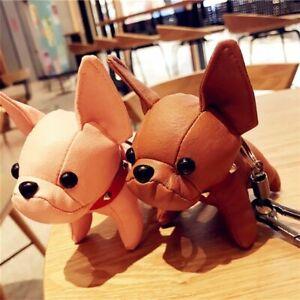 French Bulldog Keychain Pompom Key Ring Cute Holder Bag Charm Keyfobs Gift YU