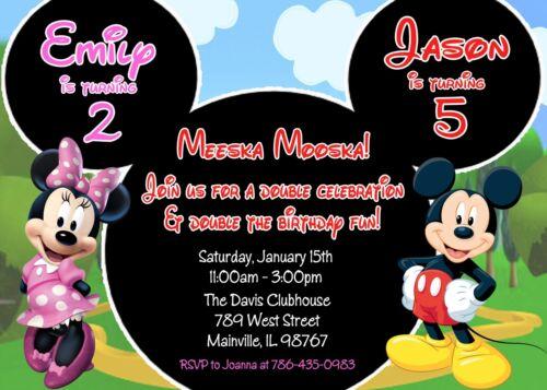 Birthday Party Invitation Mickey and Minnie Minnie Twins Mickey Siblings