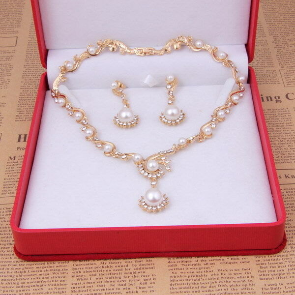 Fashion Gold Plated Bridal Jewelry Sets Pearl Ball Beads Necklace Earrings Set