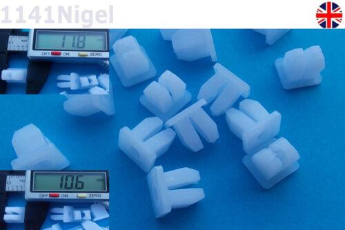 White 5mm Hole Panel Trim Clip Rivet Push Fastener     . Pack of 1-10
