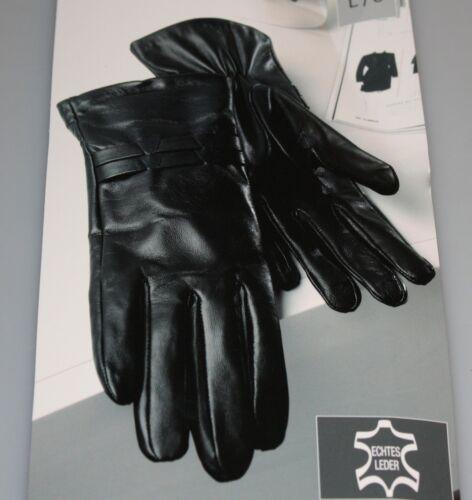 Damen Leder Handschuhe weich schwarz inkl Futter Grösse L8 echtes Leder