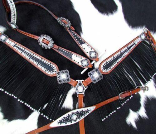 Showman Black STINGRAY White Filigree FRINGE Breast Collar Bridle Reins SET