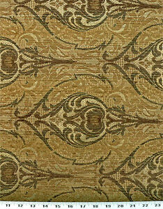 Drapery Upholstery Fabric Chenille Damask Design Sage Green Gold