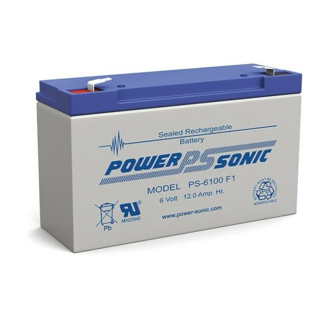 POWERSONIC PS6100 6V 12AMP SLA Rechargeable Battery F1 Terminal Sealed Lead Acid